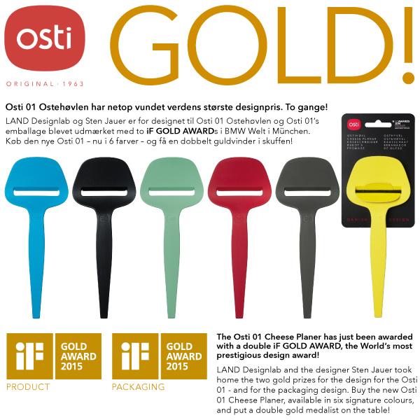 Osti 01 Ostehøvlen har netop vundet verdens største designpris. To gange! LAND Designlab og Sten Jauer er for designet til Osti 01 Ostehøvlen og Osti 01's emballage blevet udmærket med to IF GOLD AWARDs i BMW Welt i München.